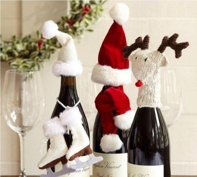 Бутылка игристого напитка, украшенная своими руками, станет украшением новогоднего стола