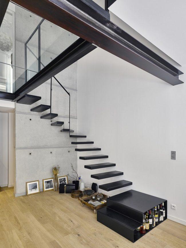 Интересная угловая лестница без перил в стиле модерн