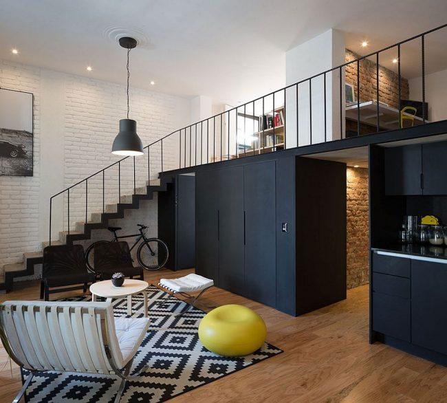 Грамотное зонирование комнат в квартире лофт