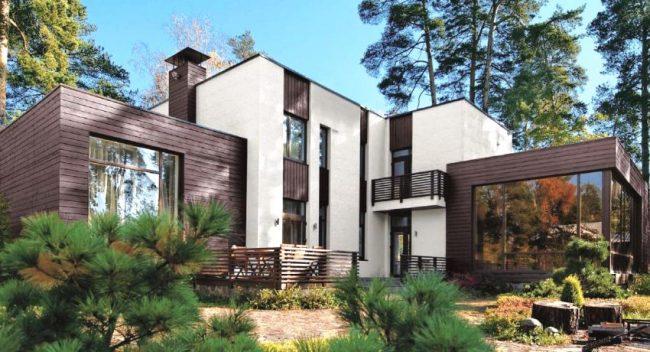 Декоративные фиброцементные панели на фасаде дома