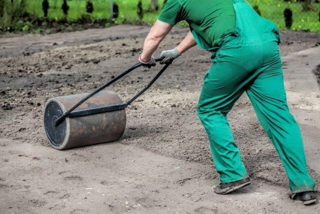 Насыпает землю и выравниваем поверхность для посадки газонной травы