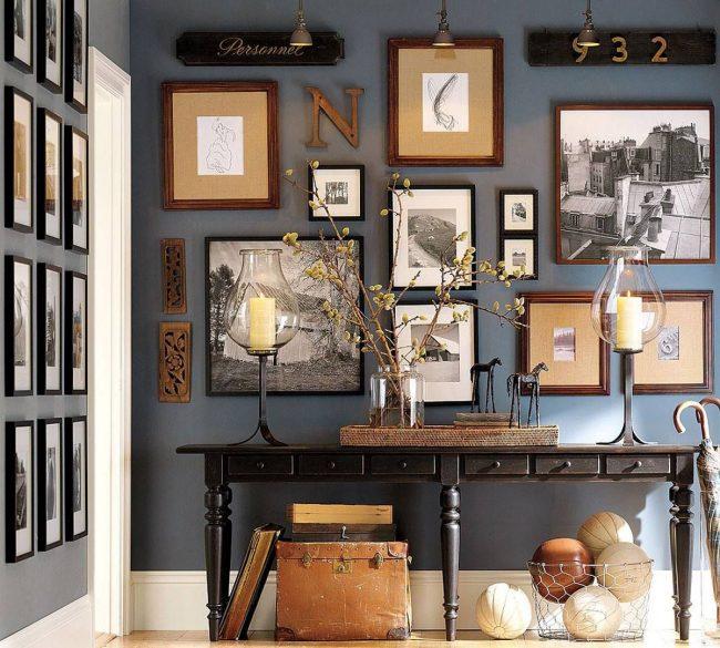 Ретрофотографии на стенах - один из признаковамериканского колониального стиля