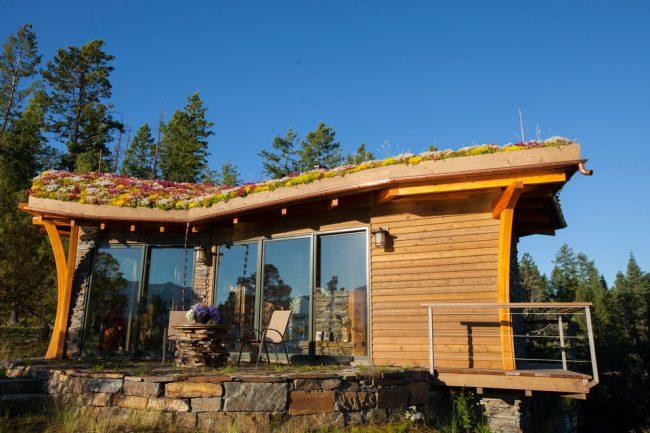 Оригинальное решение оформления крыши под клумбу