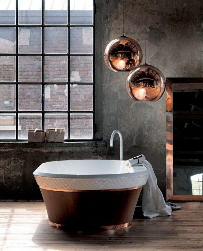 Медные элементы в декоре ванной комнаты