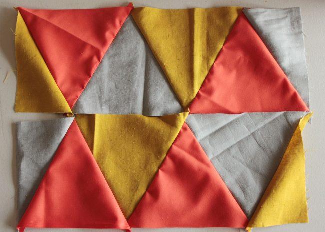 Сшитие треугольных деталей пэчворк