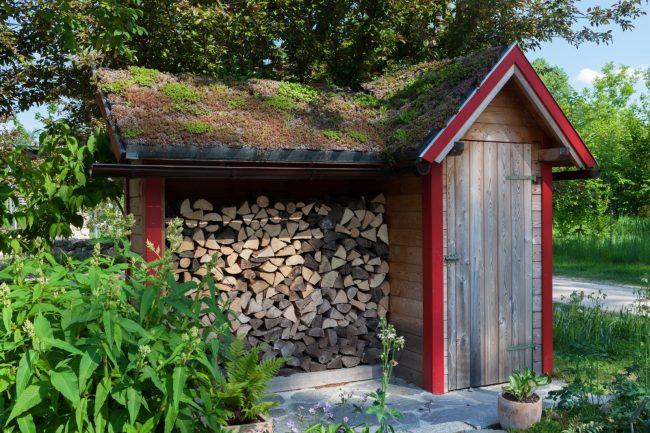 Если площадь двора позволяет, то можно соорудить небольшую постройку для хранения дров с небольшим техническим помещением