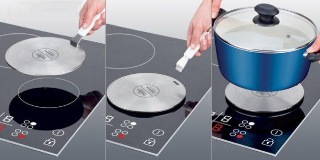 Удобный и практичный адаптер со съемной ручкой для индукционных плит