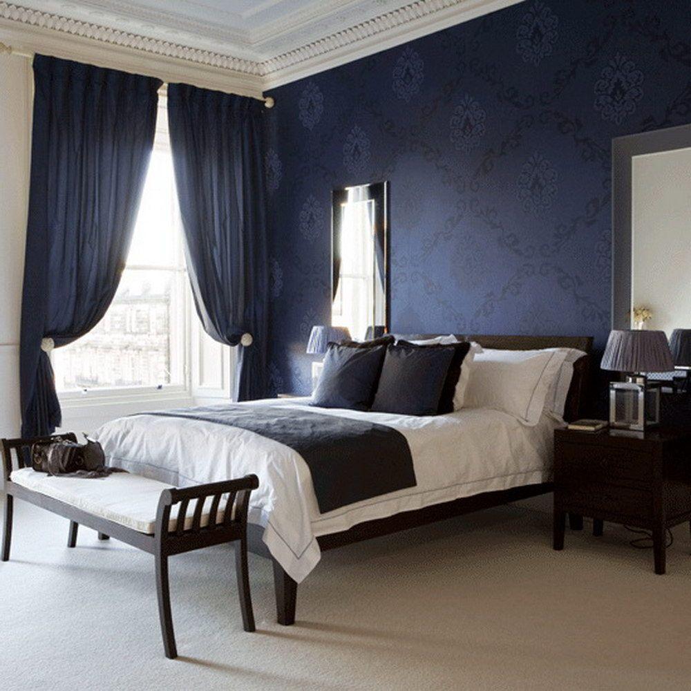 Дизайн спальни в темно синих тонах