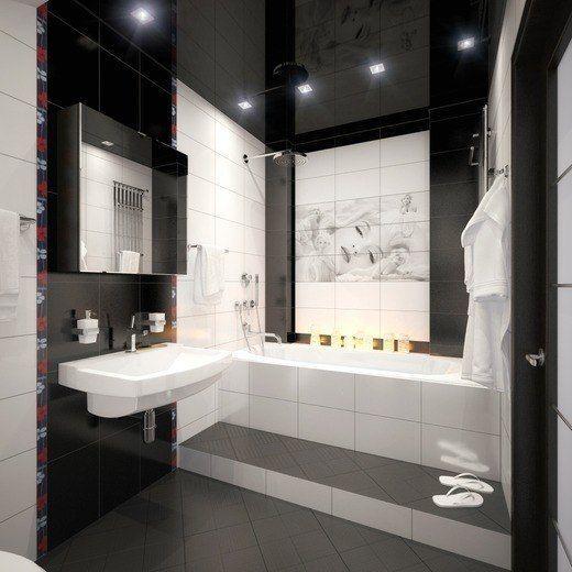 Глянцевый потолок с точечной подсветкой в ванной