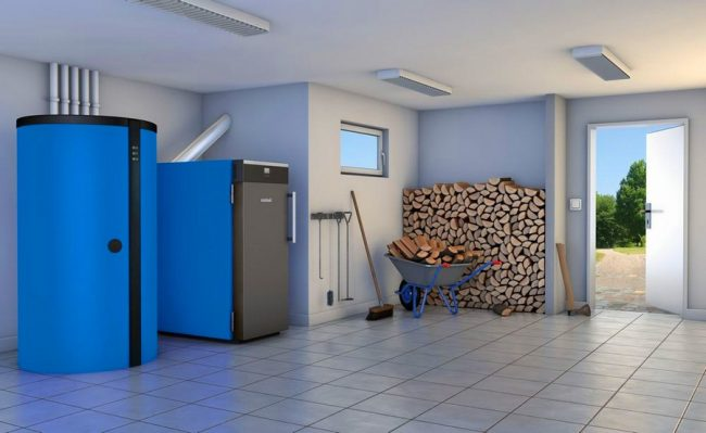 Массивное оборудование для обогрева в просторном частном дом
