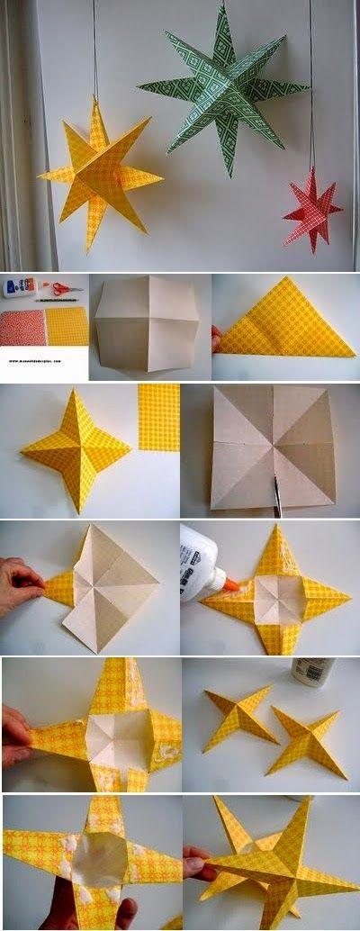 Бумажная гирлянда с игрушками-звездами своими руками