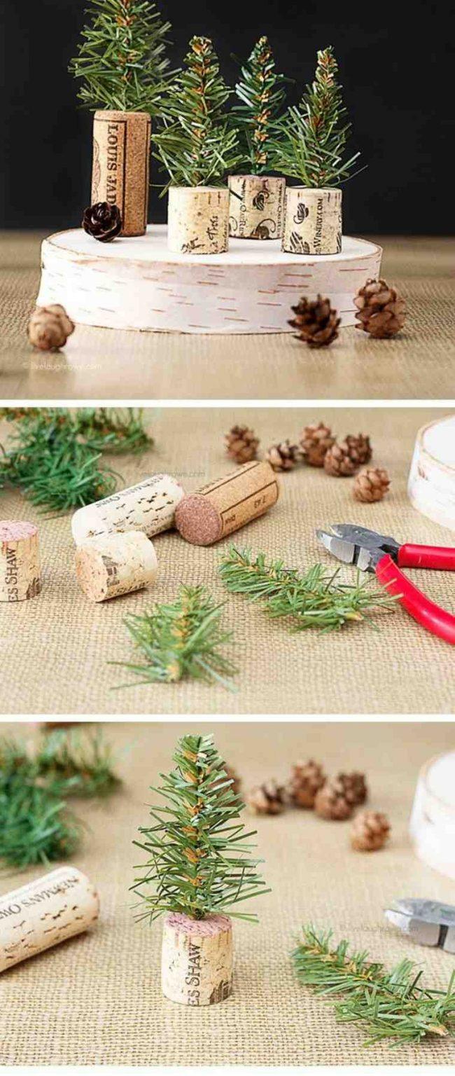 Своими руками можно изготовить даже елочки, использовав корки из-под вина