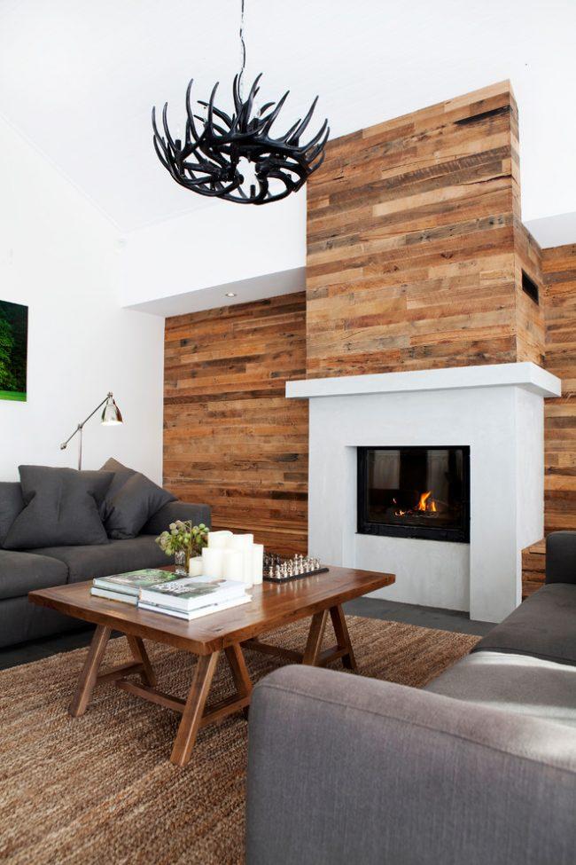 Отделка стены деревом в дизайне гостиной