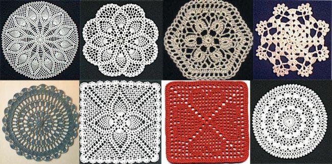 Образцы элементов для вязаных штор пэчворк