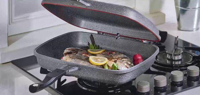 Рыба, приготовленная в сковороде-гриль с каменным покрытием