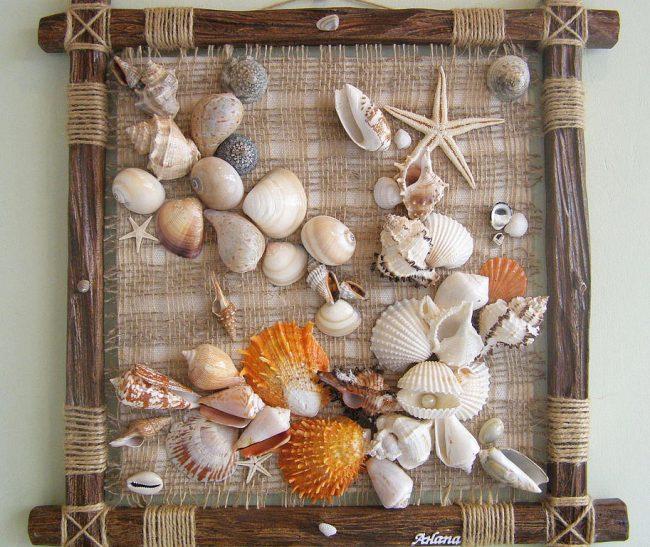 Панно из природных материалов: Красивое настенное панно в морской тематике