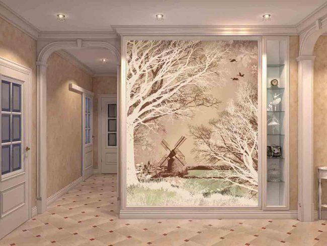 Панно с зимней композицией в дизайне коридора