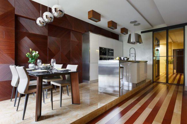 Стиль контемпорари в бело-коричневом оформлении кухни
