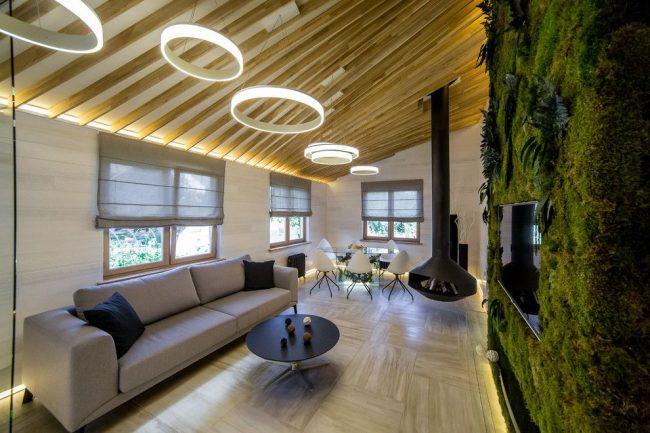 Живая зеленая стенка в современной гостиной
