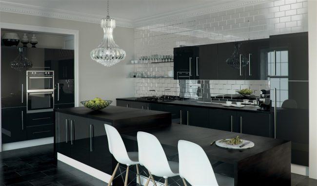 Черно-белый интерьер кухни в современном стиле