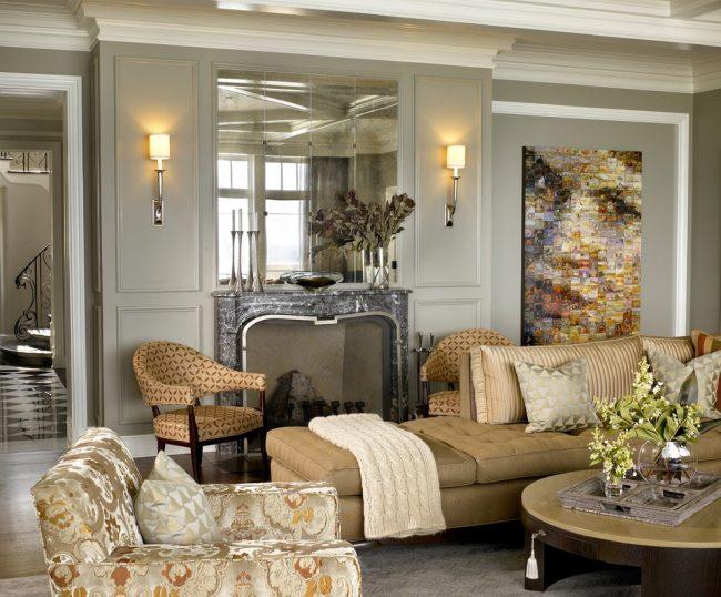 Уютная гостиная в нейтральных тонах