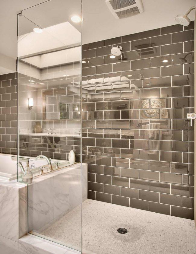 Современная ванная комната в серых тонах