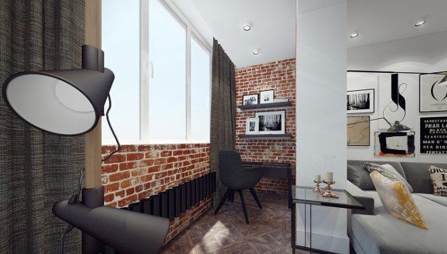 Выделенная рабочая зона на балконе, совмещенном с гостиной комнатой