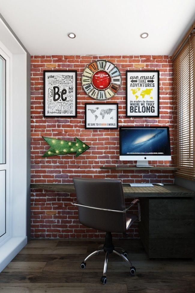 Организация рабочей зоны на балконе в стиле лофт