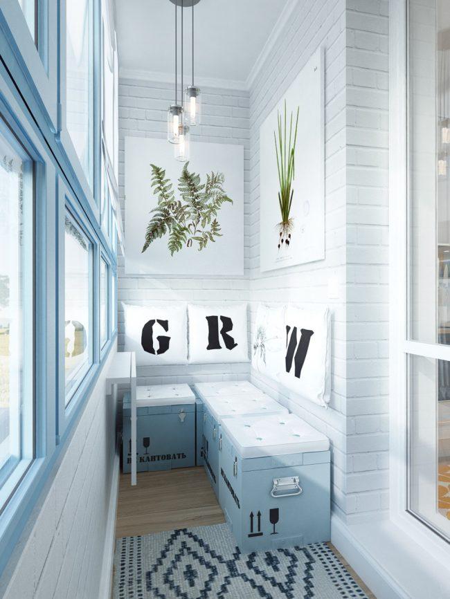 Балкон лофт: изобилие самодельных элементов декора в небольшом помещении под балкон
