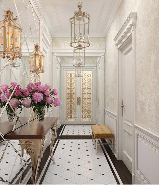 Красивые светлые обои для отделки стен в коридоре