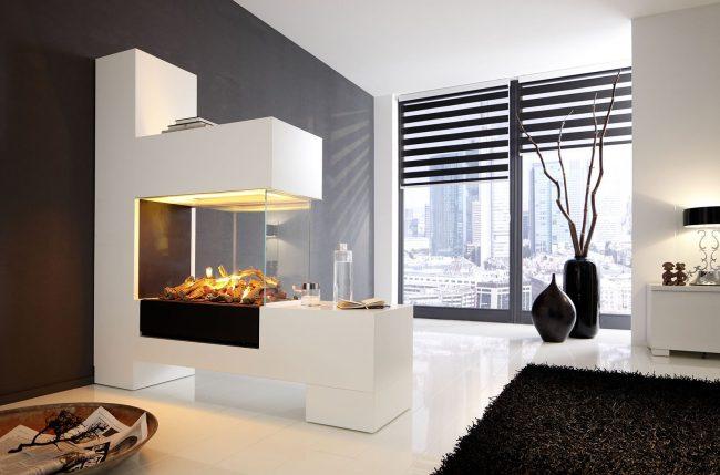 Темные вазы сдержанной формы в квартире в стиле хай тек