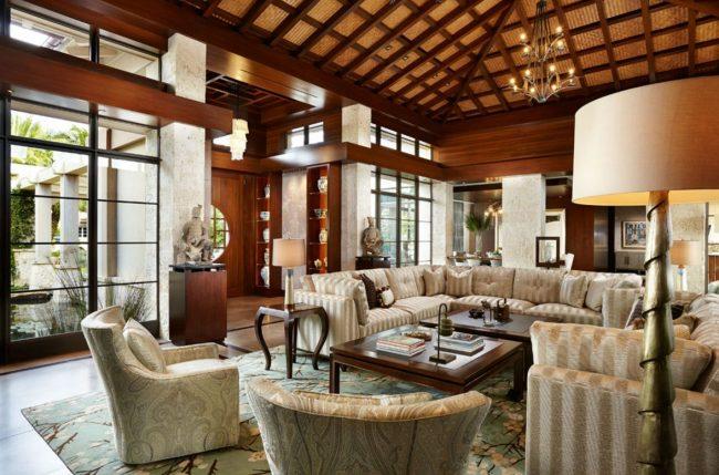 Зонирование дома в японском стиле за счет расположения мебели