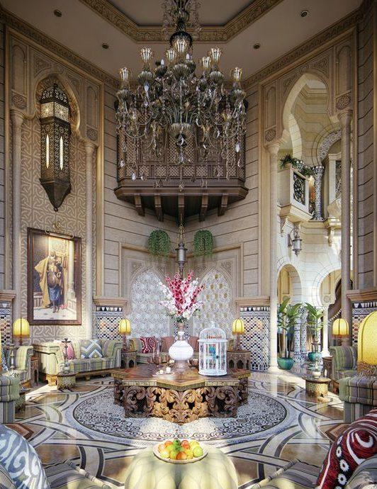 В марокканском стиле интерьер махараджей удивляет коваными и резными элементами, роскошными узорчатыми светильниками, расписанными стенами, яркими подушками и зелеными растениями в качестве декора