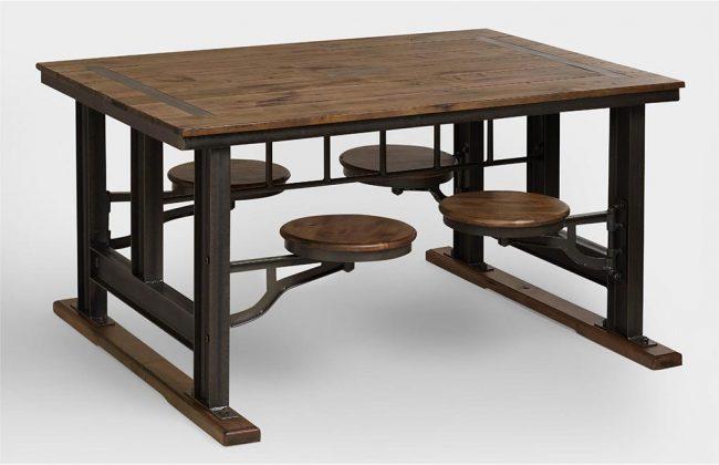 Практичный стол с выдвижными табуретками - находка для небольшого помещения