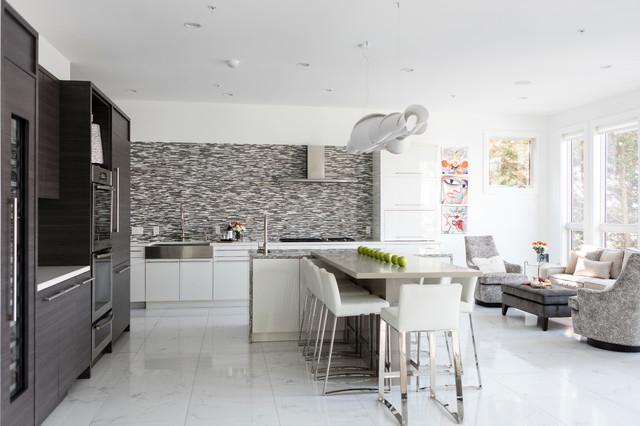 Оформление гостиной и кухни - столовой в одной цветовой гамме