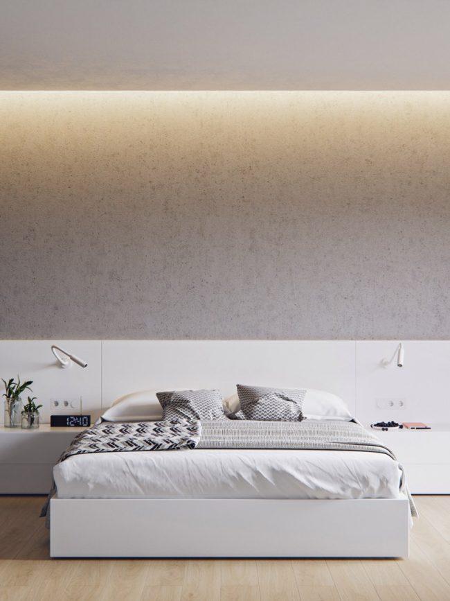 Просторная светлая спальня с подсветкой обоев под бетон