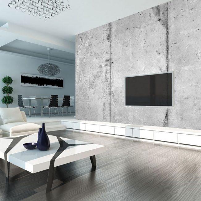 Студийное помещение гостиной можно зонировать с помощью разноплановых обоев в обеденной и зоне отдыха