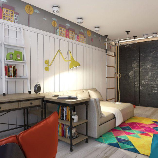 Металлическая шведская стенка, крепленная к потолку, занимающая минимум места в комнате