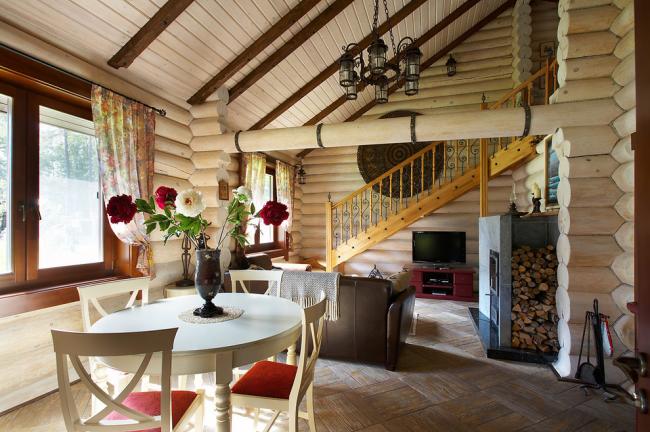 Отделка стен деревом делает дом особенно-уютным и теплым