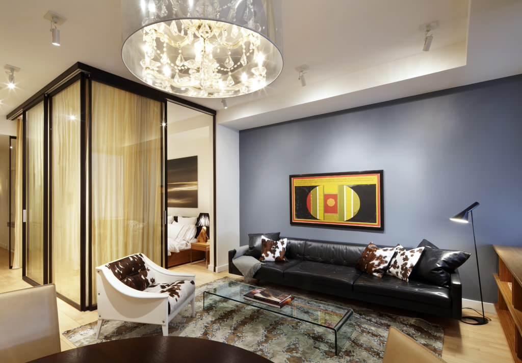Дизайн гостиной-спальни с перегородкой