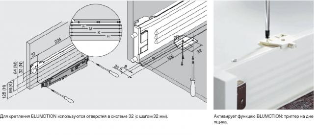 Схема установки доводчика на выдвижной ящик