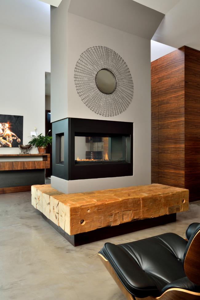 Огонь камина успокаивает, улучшает ауру помещения, дарит тепло и ощущение уюта