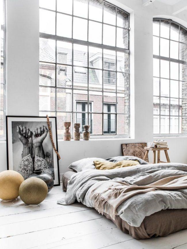 Шикарная спальня в стиле лофт