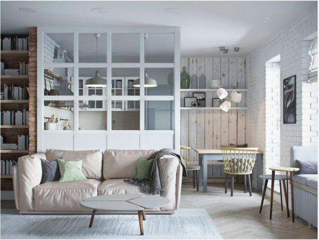 Перегородка между кухней и гостиной - настоящая находка для дизайнеров, ведь позволяет с легкостью менять восприятие обоих помещений