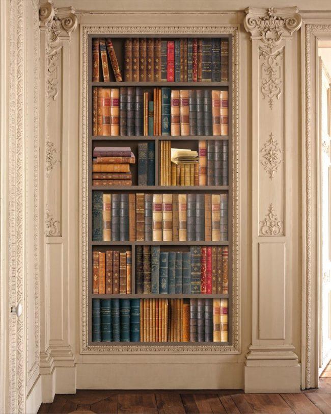 Оформление библиотеки пилястрами идеально подойдет для классического интерьера