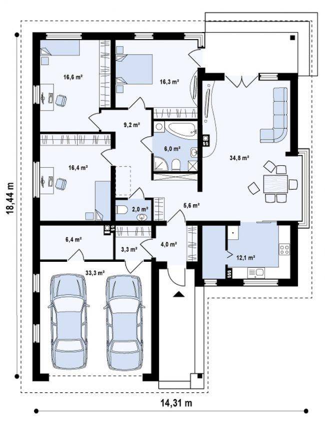 План небольшого дома с гаражом на две машины