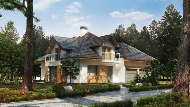 Проект дома с мансардным этажом и двумя гаражами