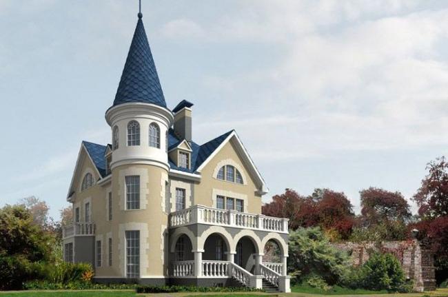 Проект дома с башней в стиле Шато