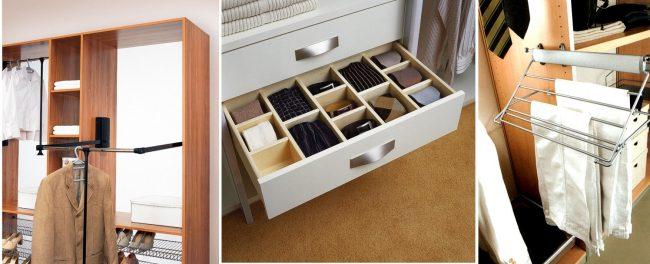 Различные ящики и системы сделают ваш шкаф-купе очень удобным
