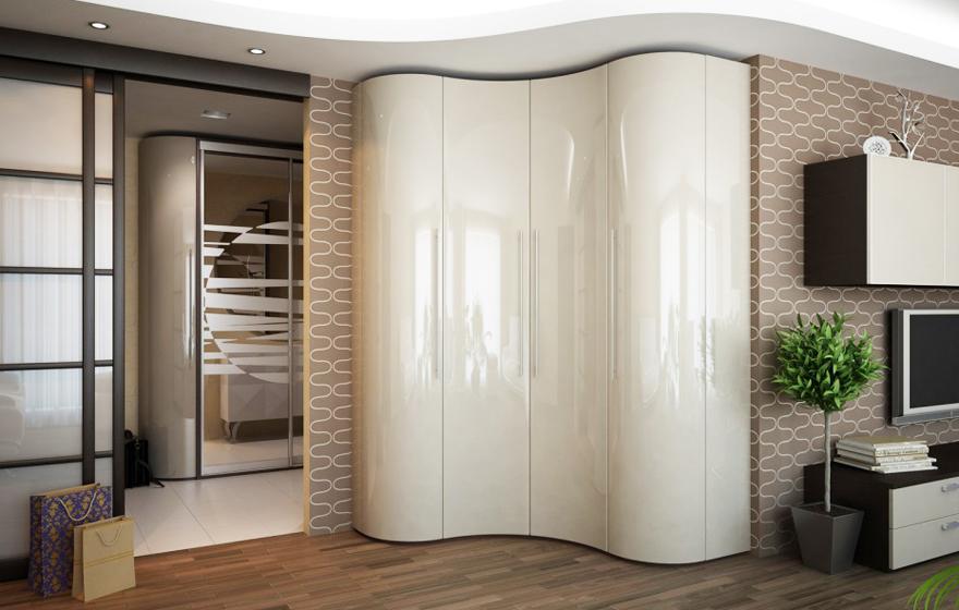 Радиусные шкафы-купе: фото конструкций, преимущества и обзор.